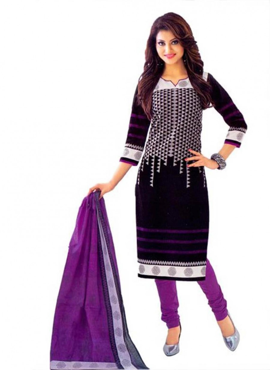 Buy Cotton Exclusive Black Andpurple Printed Dress Material Online