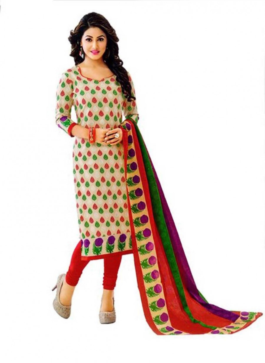 Buy Cotton Exclusive Multi Colour And Red Printed Dress Material Online