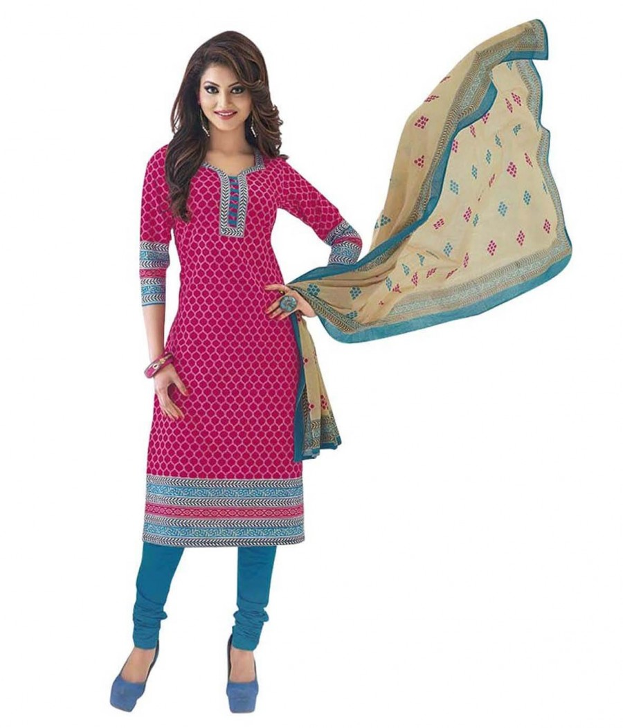 Buy Cotton Exclusive Pink And Light Blue Printed Dress Material Online