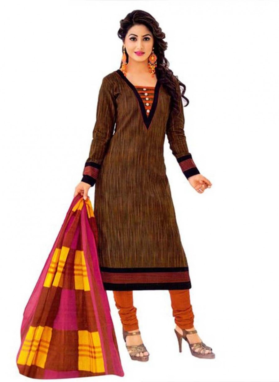 Buy Cotton Exclusive Brown And Multi Colour Printed Dress Material Online