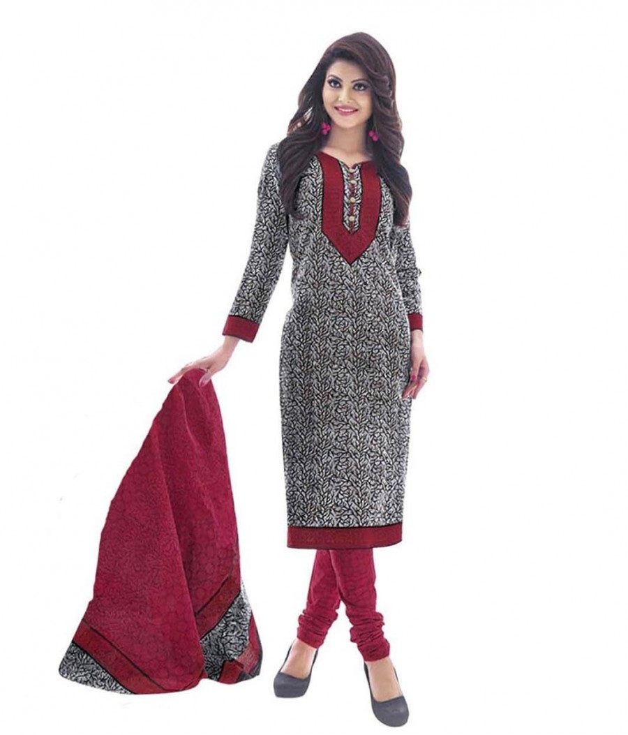Buy Cotton Exclusive White And Red Printed Dress Material Online