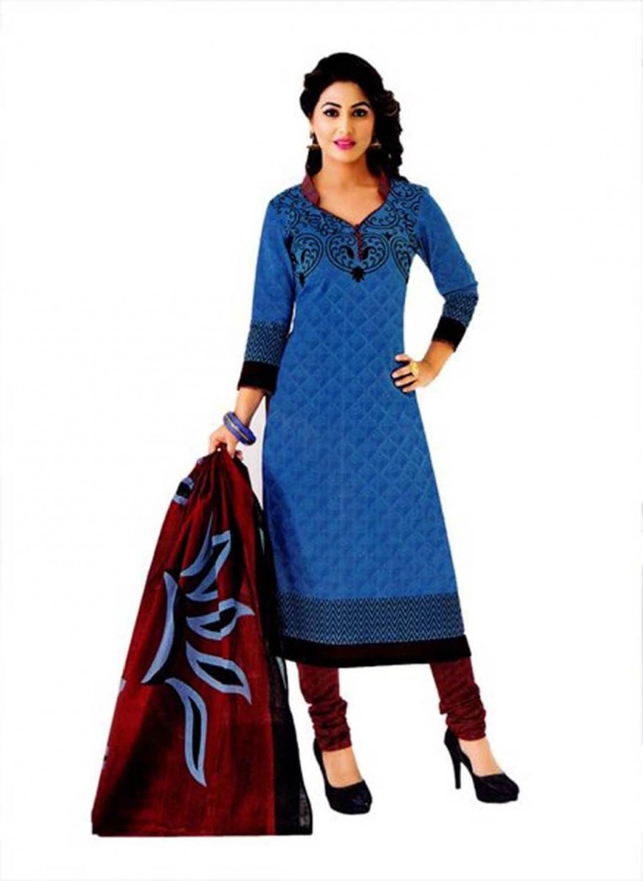 Buy Cotton Exclusive Blue And Maroon Printed Dress Material Online