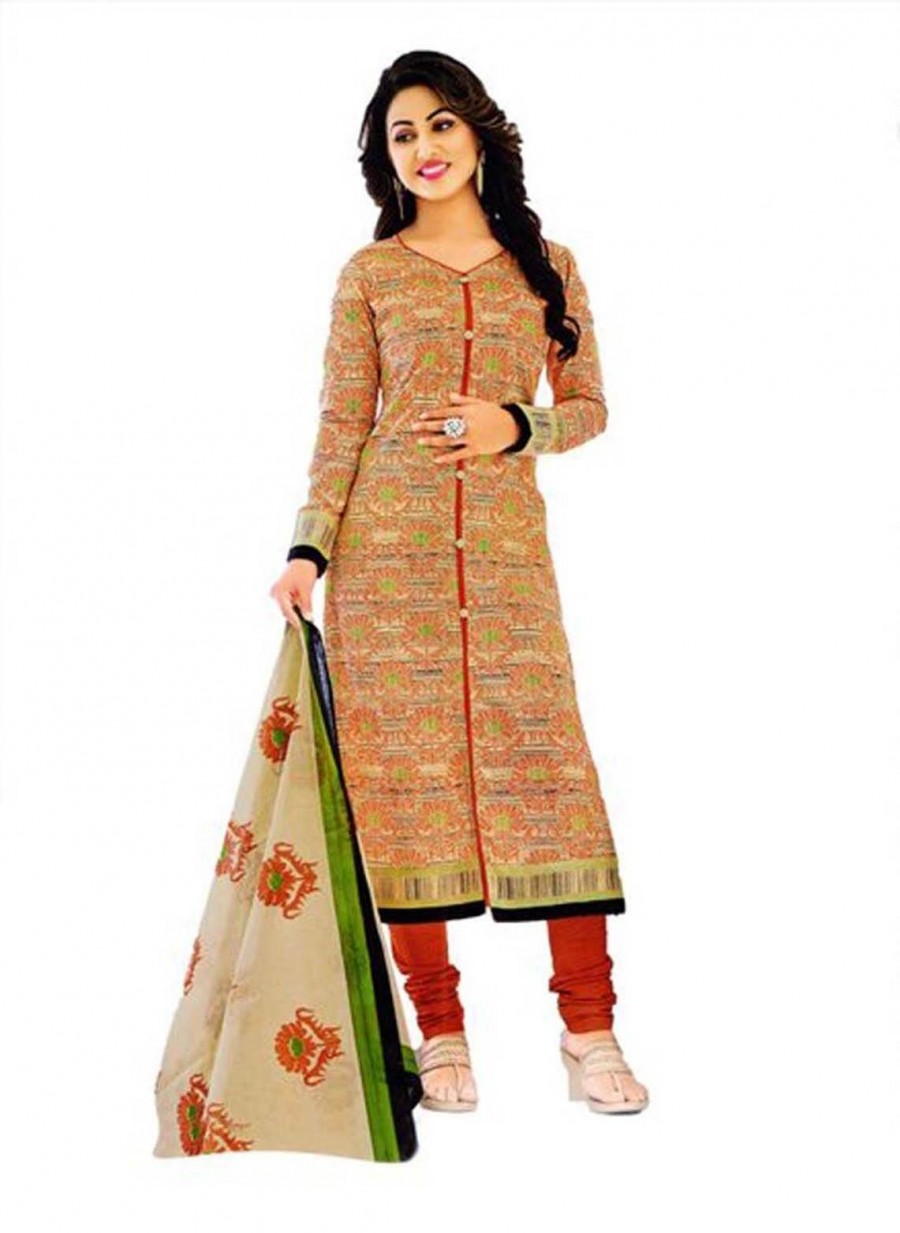 Buy Cotton Exclusive Beige And Orange Printed Dress Material Online
