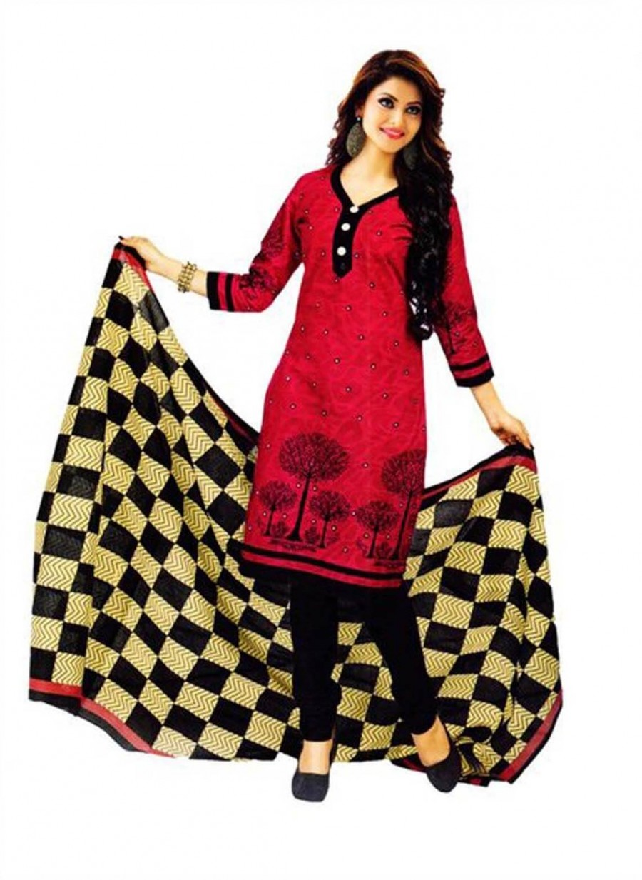 Buy Cotton Exclusive Pink And Black Printed Dress Material Online