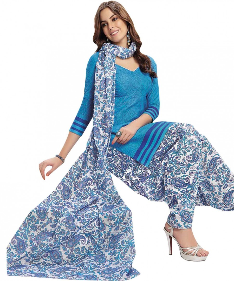 Buy Cotton Exclusive Light Blue And White Printed Dress Material Online