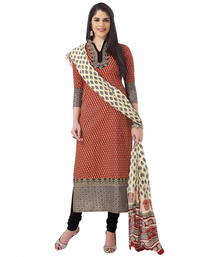 Buy Cotton Exclusive Red And Black Printed Dress Material Online