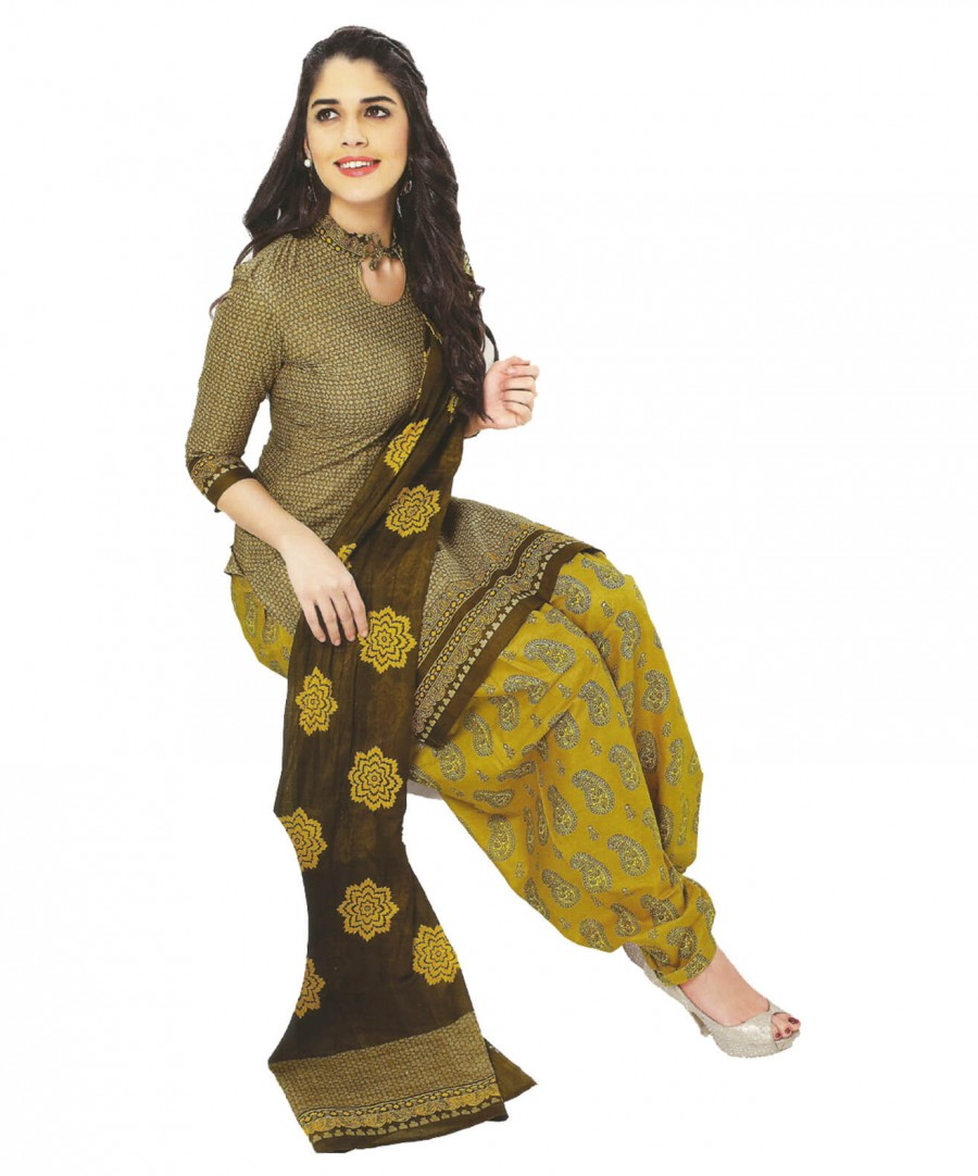 Buy Cotton Exclusive Beige And Yellow Printed Dress Material Online