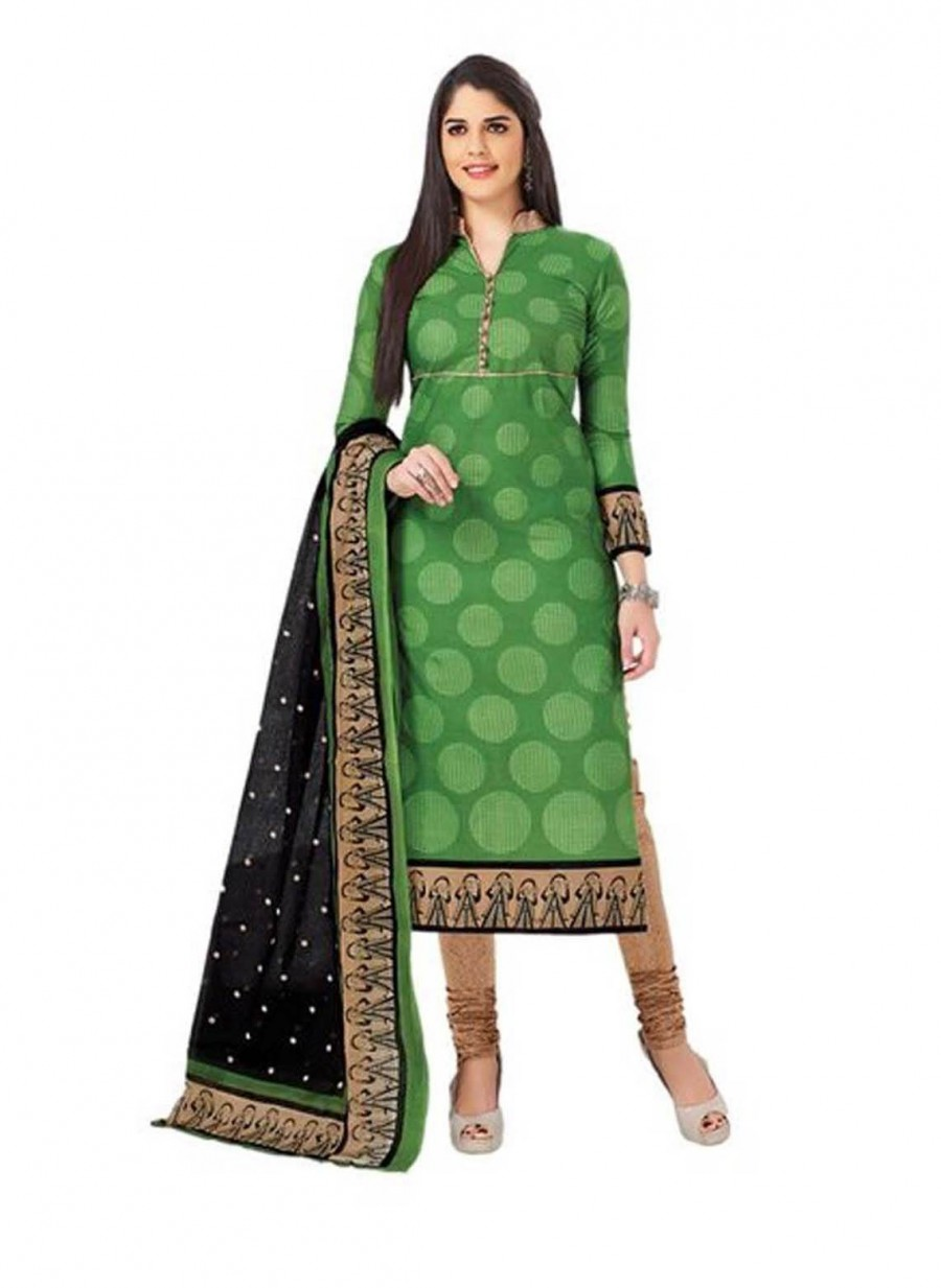 Buy Cotton Exclusive Green And Beige Printed Dress Material Online