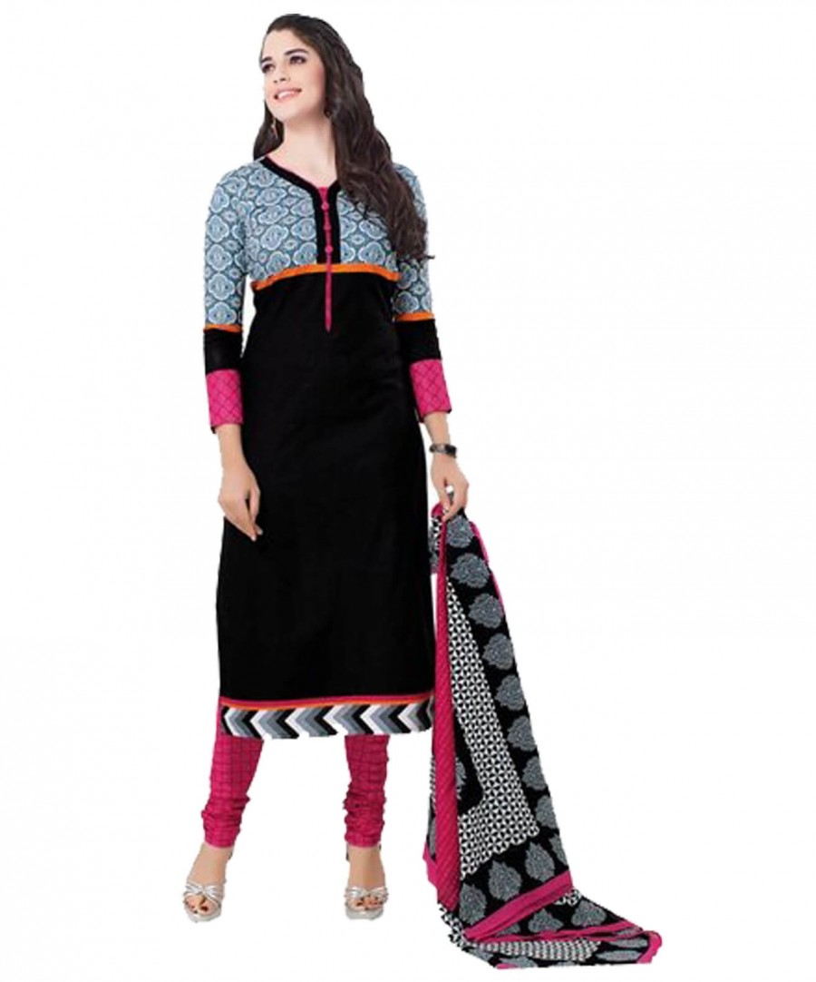 Buy Cotton Exclusive Black And Pink Printed Dress Material Online