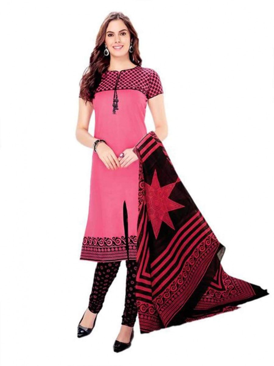 Buy Cotton Exclusive Peach And Black Printed Dress Material Online