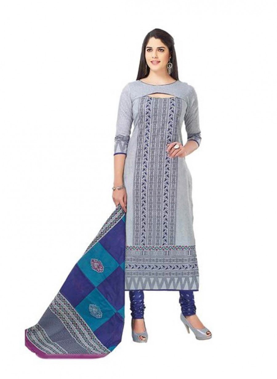 Buy Cotton Exclusive Grey And Blue Printed Dress Material Online