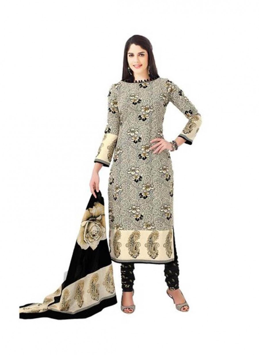 Buy Cotton Exclusive Cream And Black Printed Dress Material Online
