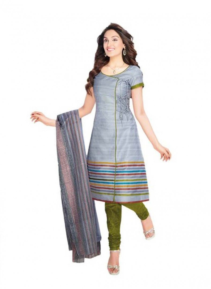 Buy Cotton Exclusive Grey And Parrot Green Printed Dress Material Online