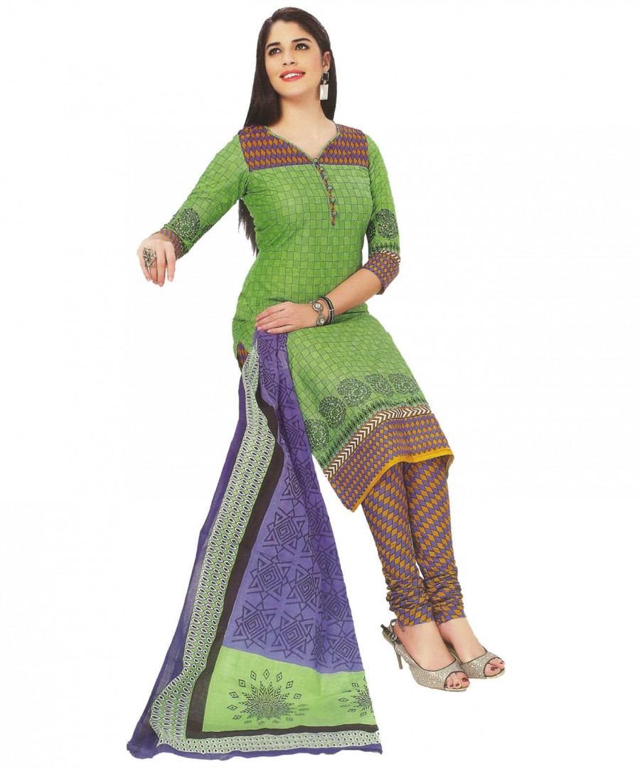 Buy Cotton Exclusive Green And Multi Colour Printed Dress Material Online