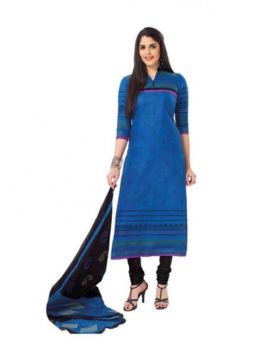Buy Cotton Exclusive Blue And Black Printed Dress Material Online