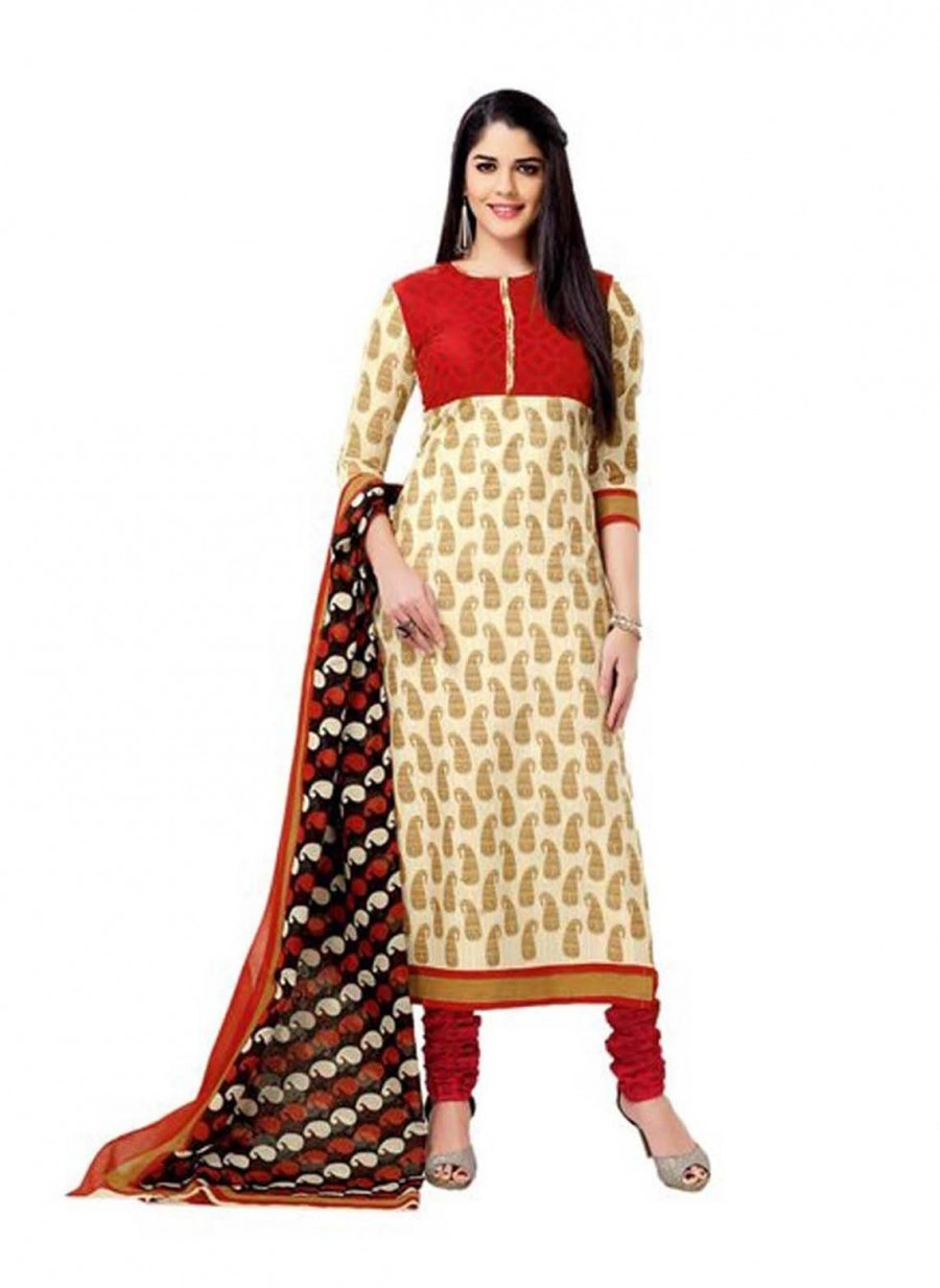 Buy Cotton Exclusive  Beige And Red Printed Dress Material Online