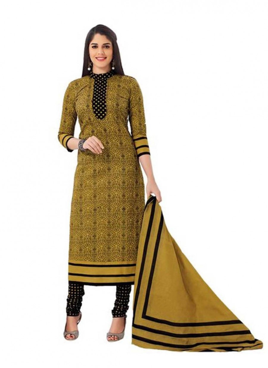 Buy Cotton Exclusive  Beige And Black Printed Dress Material Online