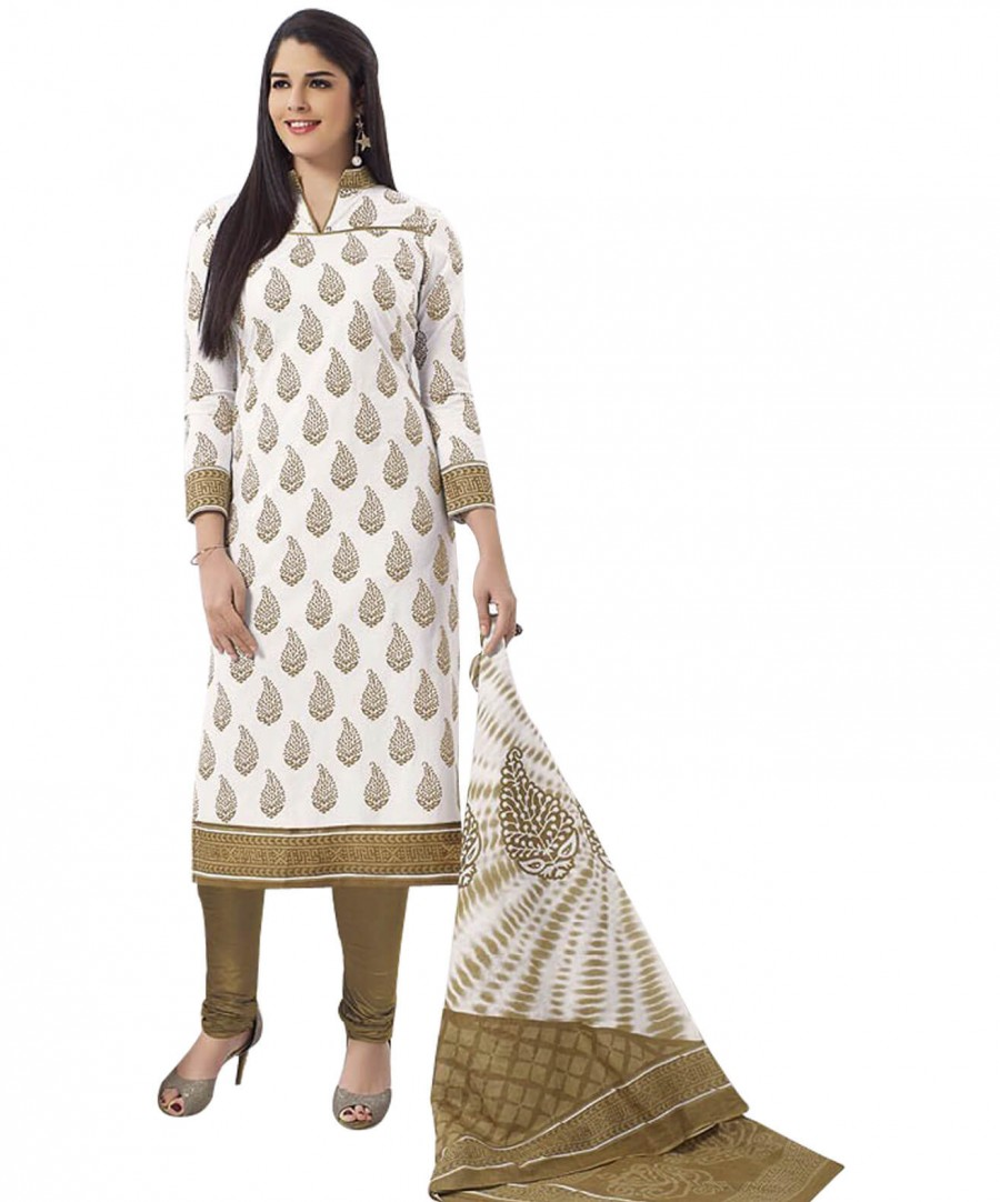 Buy Cotton Exclusive  White And Gold Colour Printed Dress Material Online