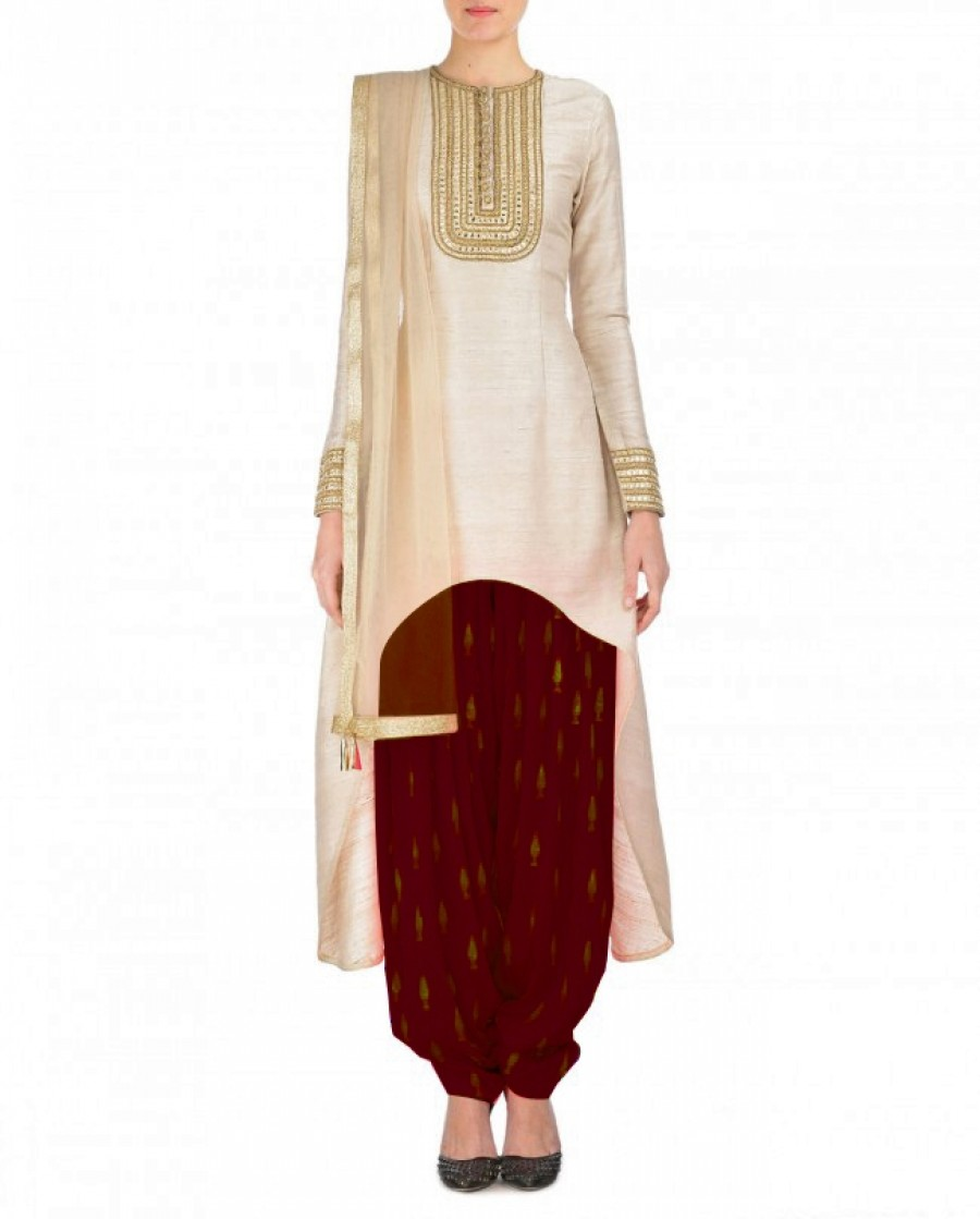 Buy Cream And Brown Embroidered Semi Stitched Patiyala Suit Online
