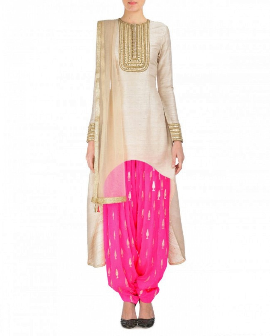 Buy Cream And Light Pink Embroidered Semi Stitched Patiyala Suit Online