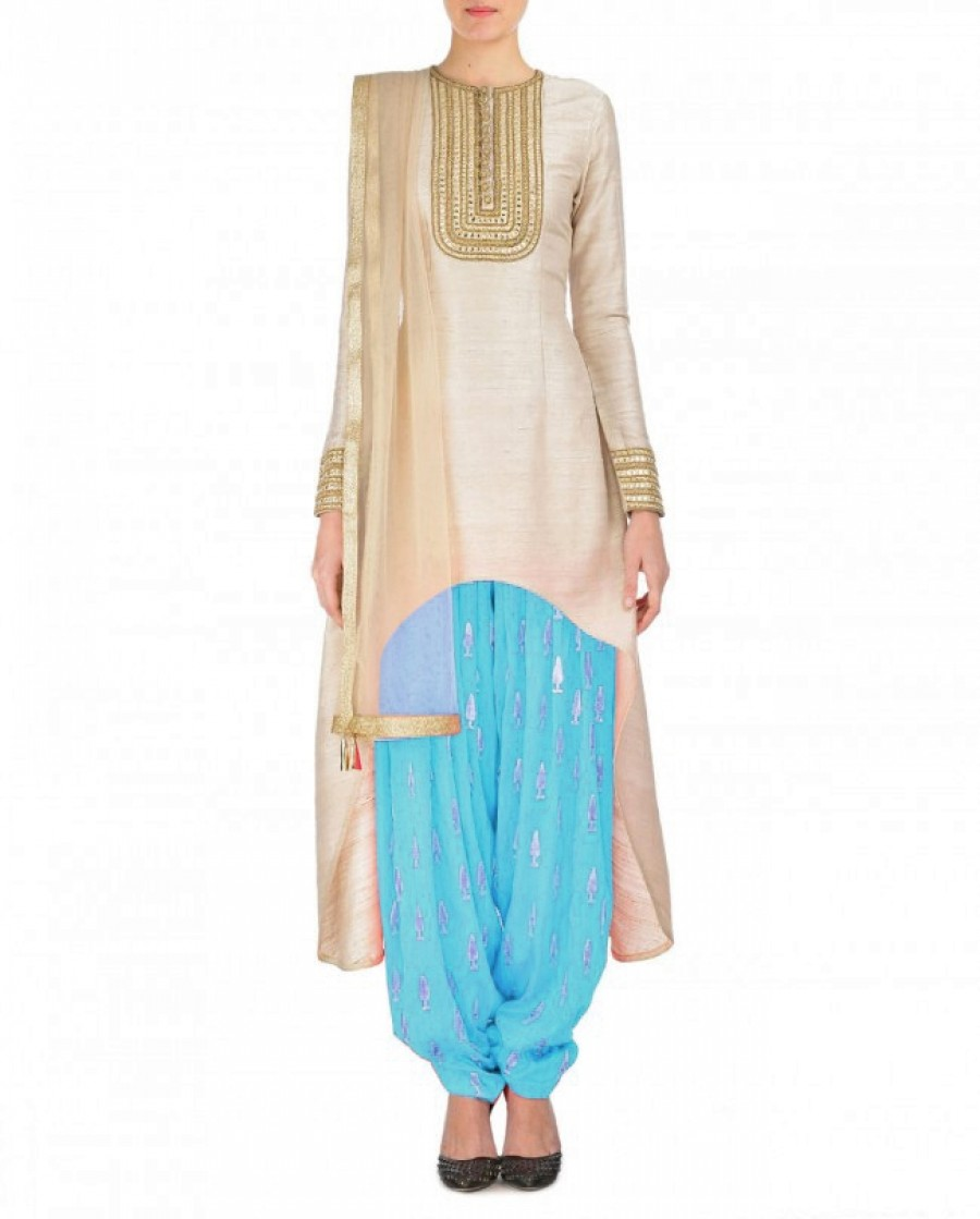 Buy Cream And Sky Blue Embroidered Semi Stitched Patiyala Suit Online