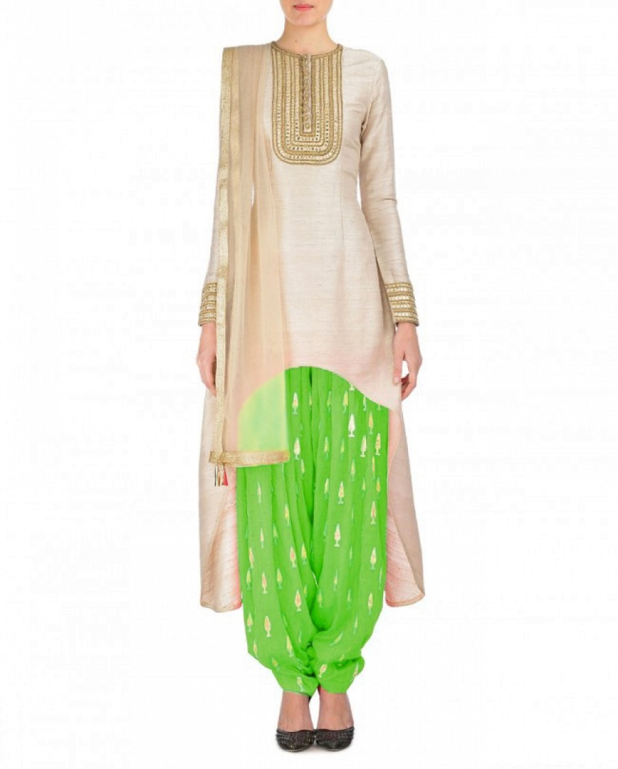 Buy Cream And Lime Green Embroidered Semi Stitched Patiyala Suit Online