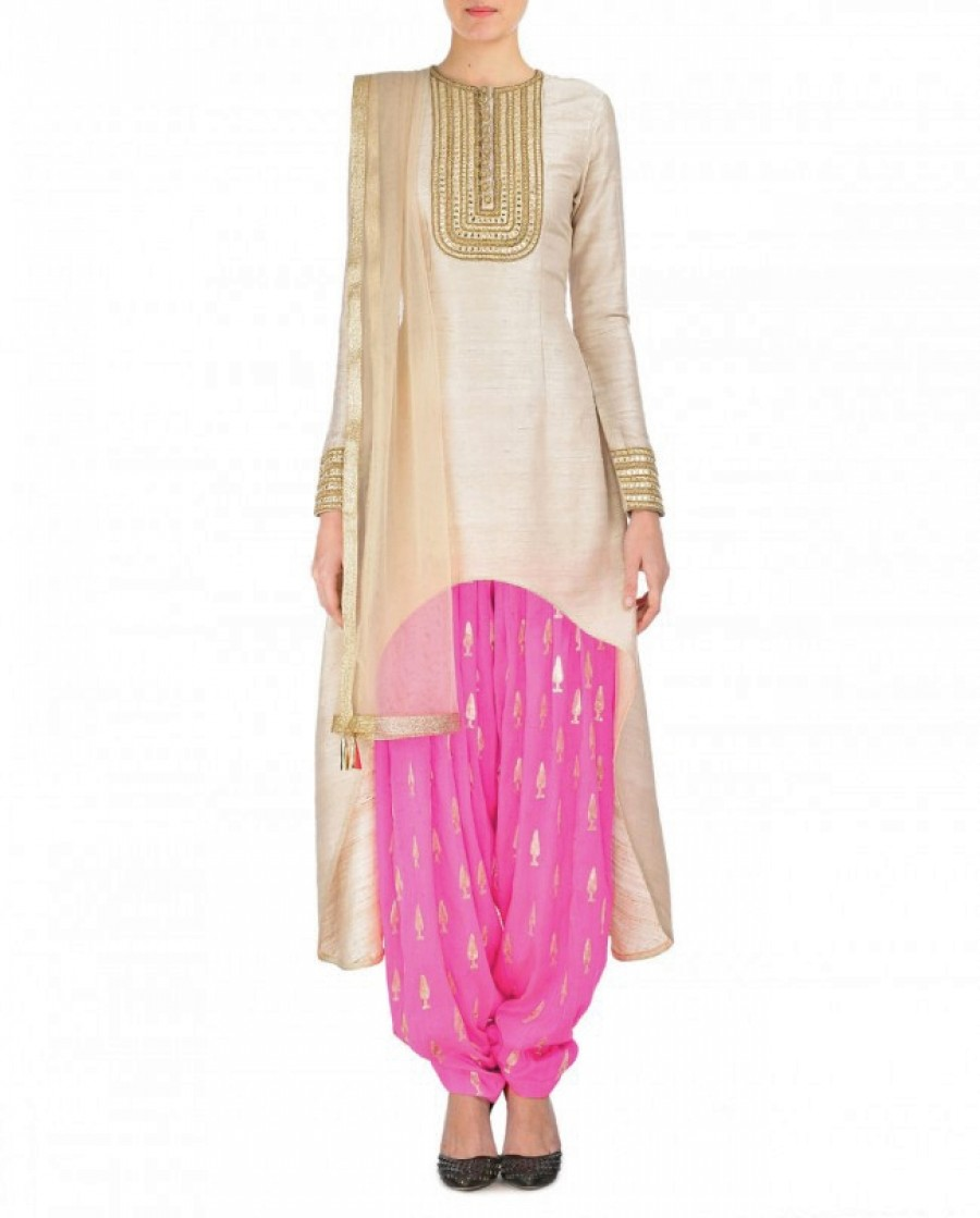 Buy Cream And Pink Embroidered Semi Stitched Patiyala Suit Online