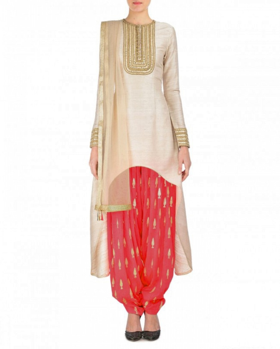 Buy Cream And Red Embroidered Semi Stitched Patiyala Suit Online