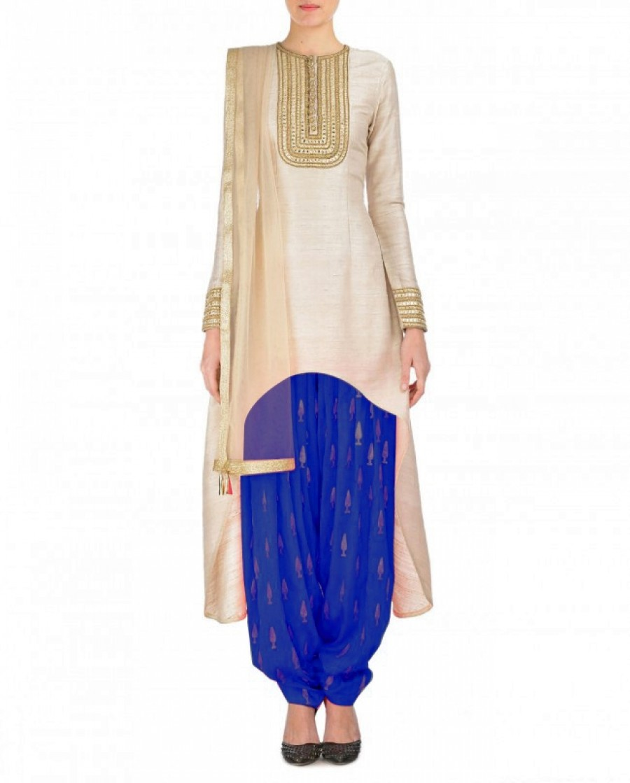 Buy Cream And Blue Embroidered Semi Stitched Patiyala Suit Online