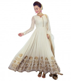 Buy Gorgeous Trisha Beautiful White Embroidered Anarkali Suit Online