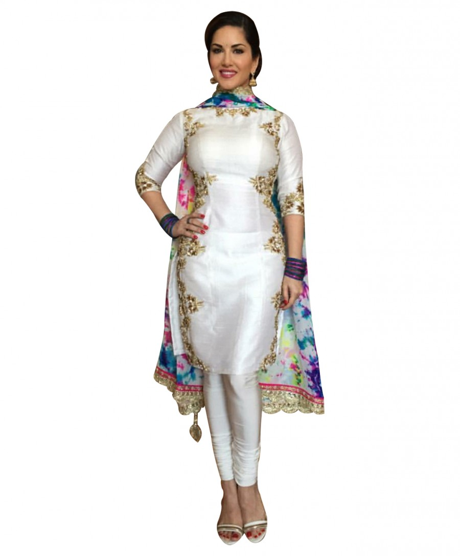 Buy Amazing Straight Fit White Embroidered Suit Online