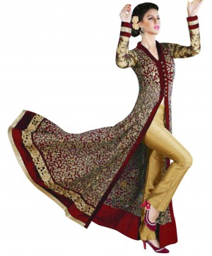 Buy Attractive Embroidered Maroon And Cream Anarkali Suit  Online