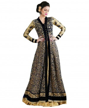 Buy Attractive Embroidered Black And Cream Anarkali Suit  Online