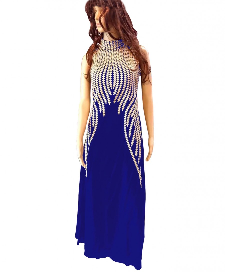 Buy Designer Royal Blue Georgette Embroderied Semi-Stitched Long Kurti Online