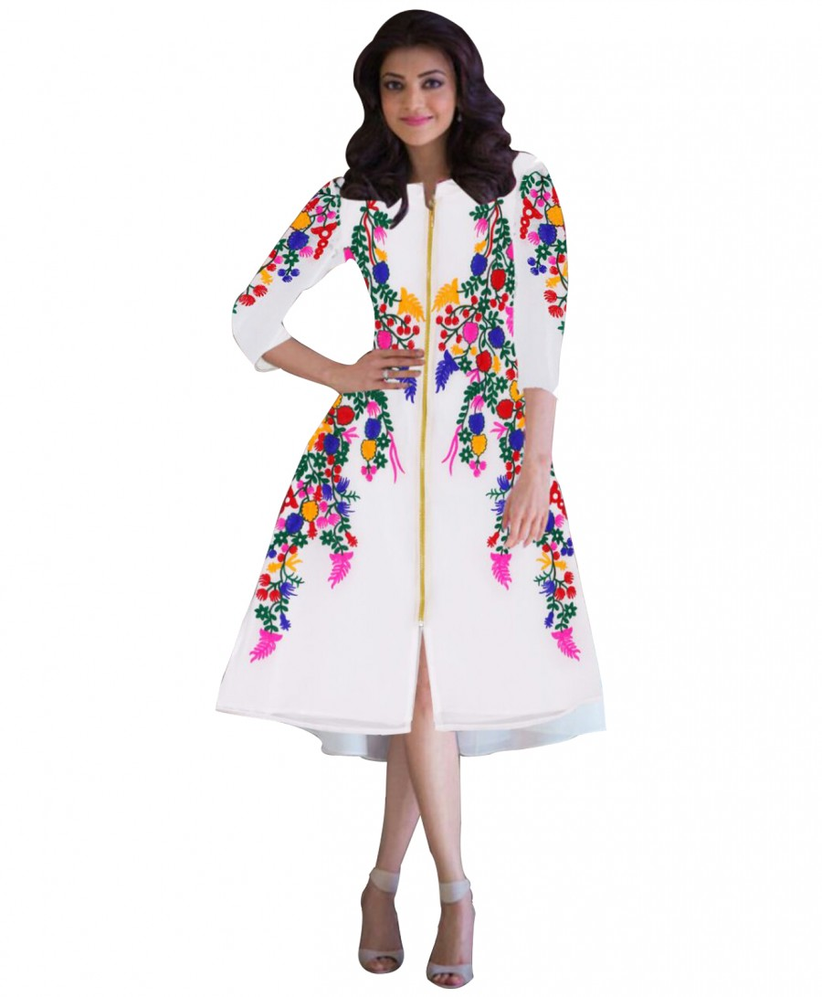 Buy Gorgeous Designer White With Multi Color Work Kurti  Online