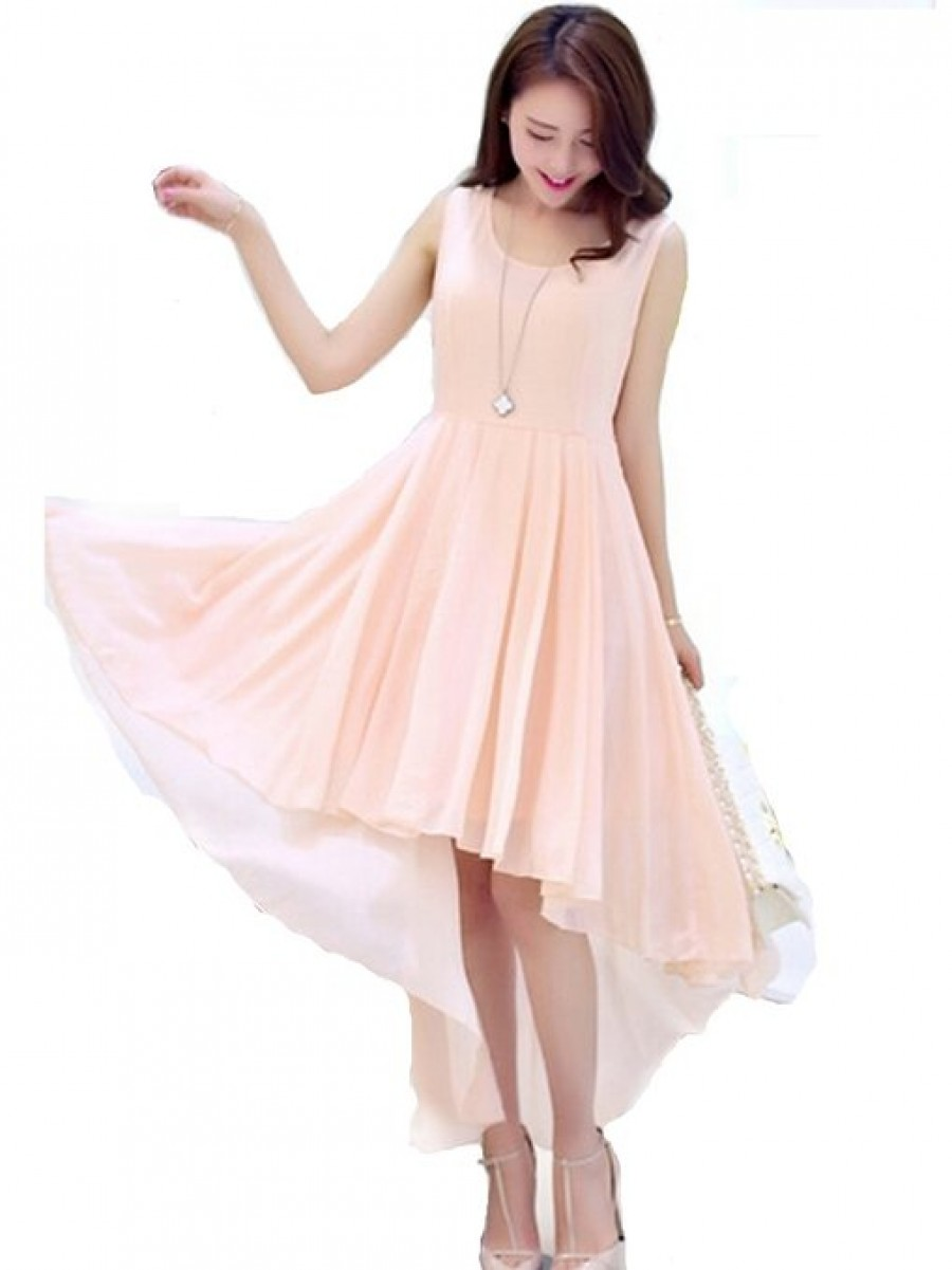 Buy Attractive Faux Georgette Peach Designer Western Dress Online