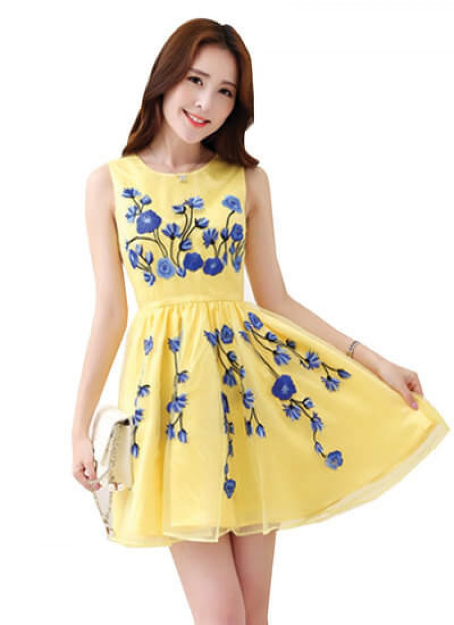 Buy Awesome Faux Georgette Yellow And Blue Embroiderd Designer Dress Online