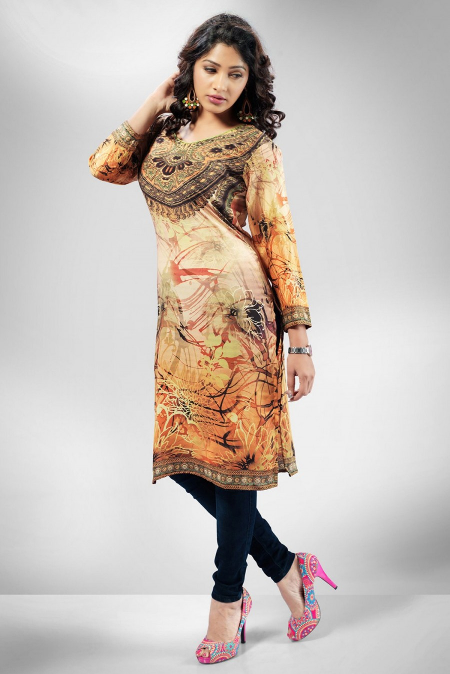 Buy Attractive Orange Crepe Digital Printed Kurti Online