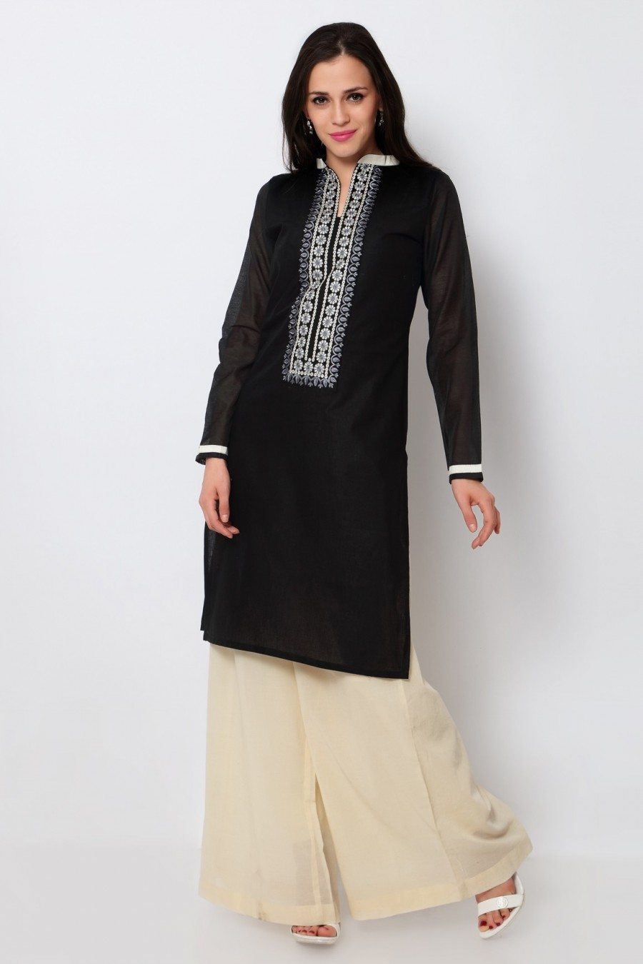 Buy Black Cotton Embroidered Kurti Online