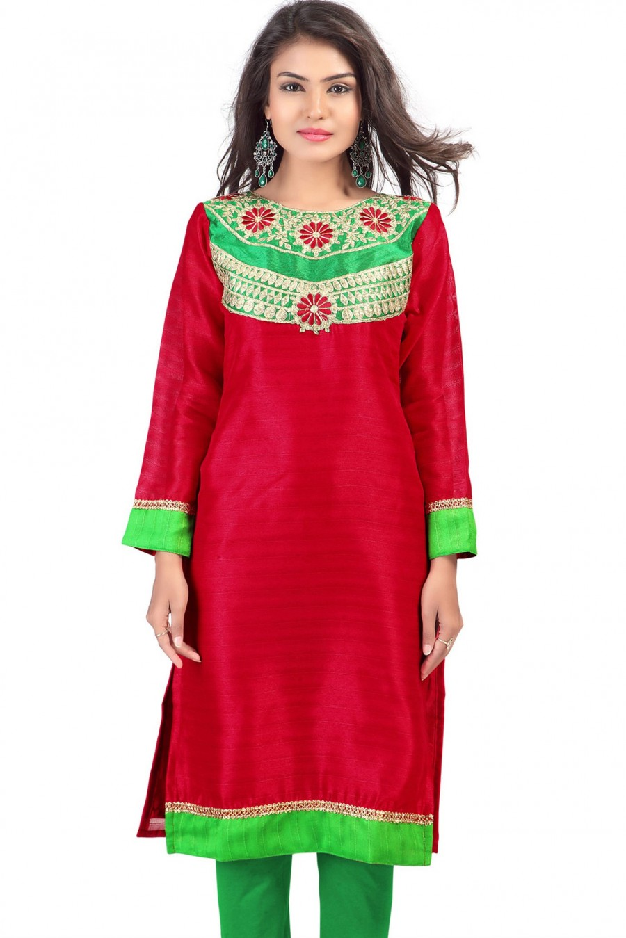 Buy Charming Red and Green Bhagalpuri Silk Embroidered Kurti Online