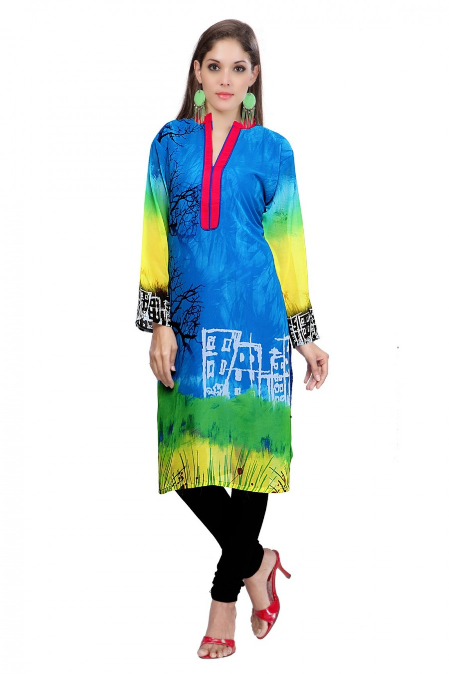 Buy Digitally Printed Blue Georgette Kurti Online