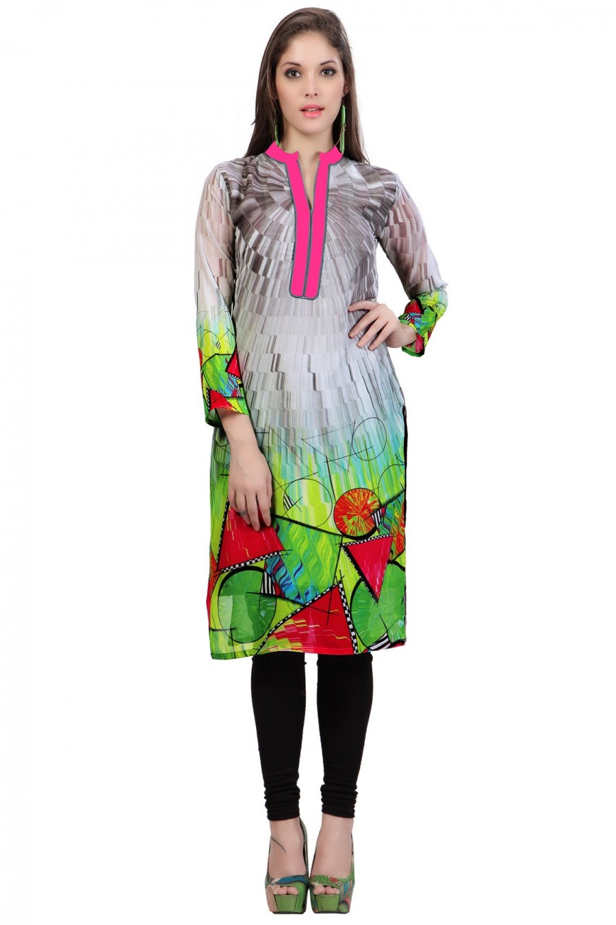 Buy Digitally Printed Grey Georgette Printed Kurti Online