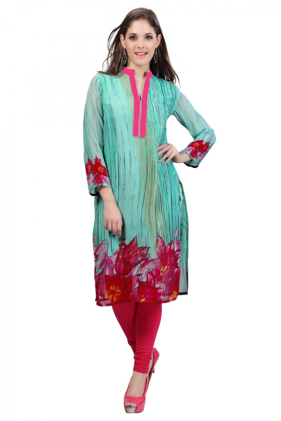 Buy Digitally Printed Sea Green Georgette Kurti Online