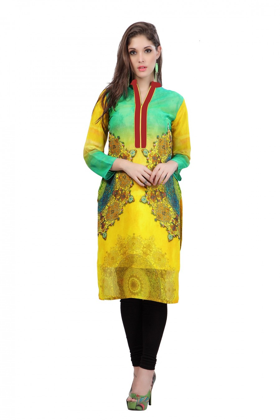 Buy Digitally Printed Yellow and Green Georgette Kurti Online