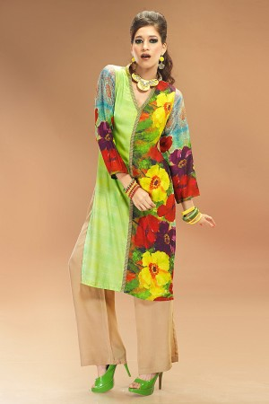 Buy Floral Printed Multi-color Crepe Tunic Online