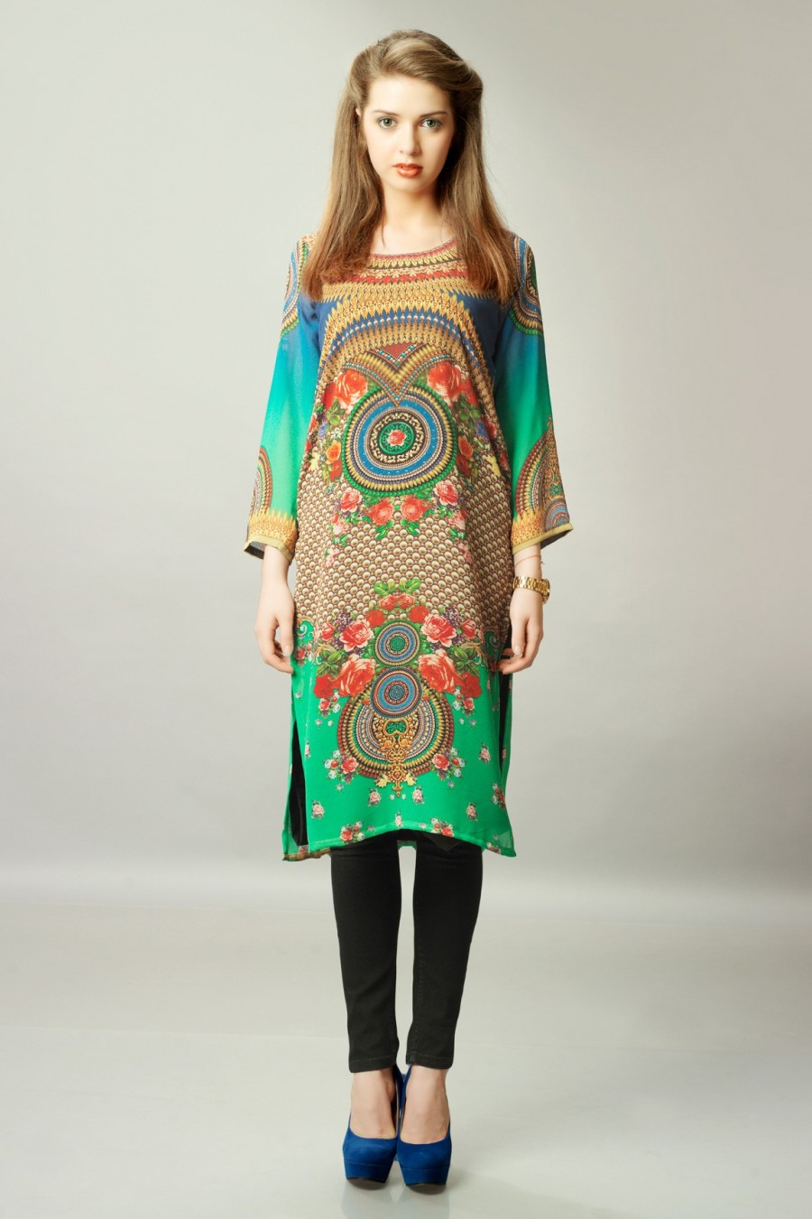 Buy Green and Blue Georgette Digital Print Kurti Online