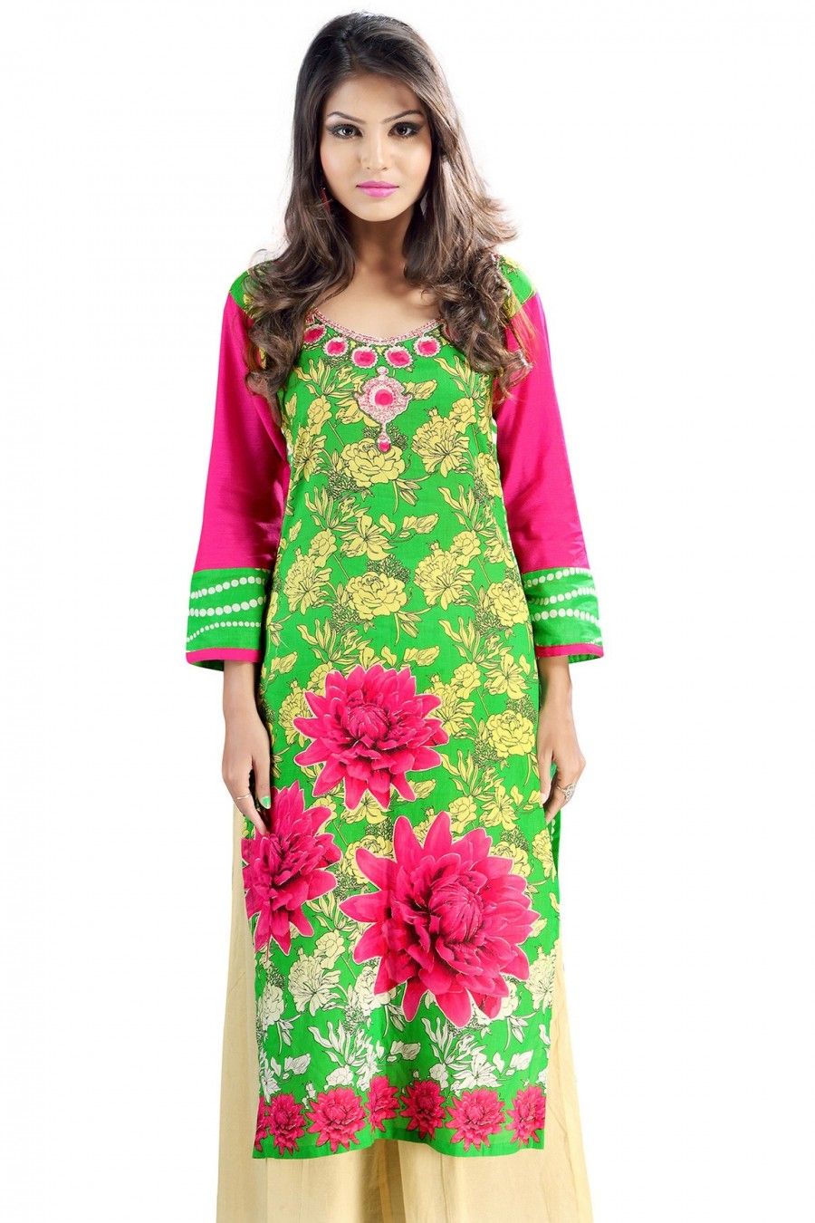 Buy Green and Pink Cambric Cotton Floral Printed Kurti Online