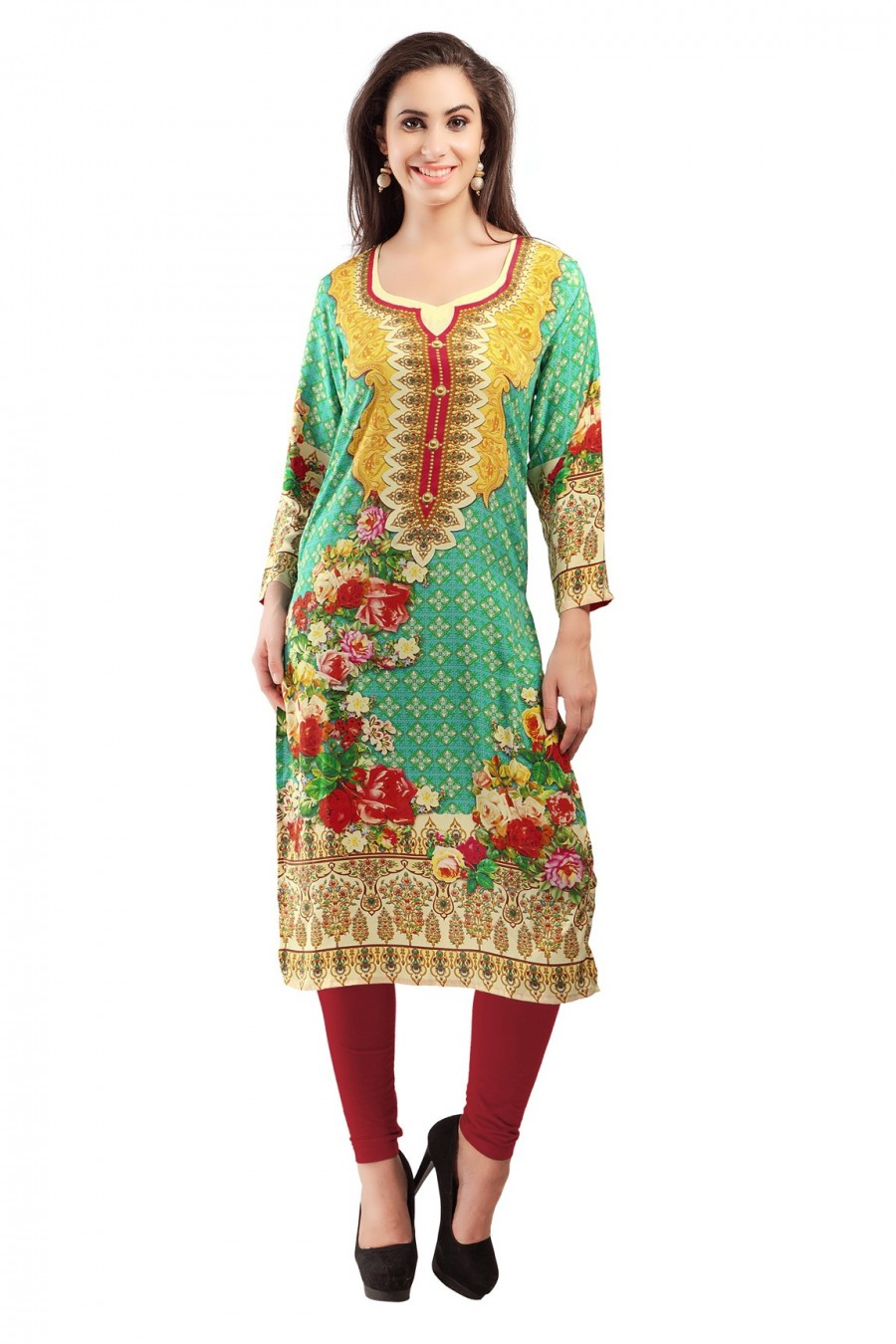 Buy Green Crepe Digital Printed Kurti Online