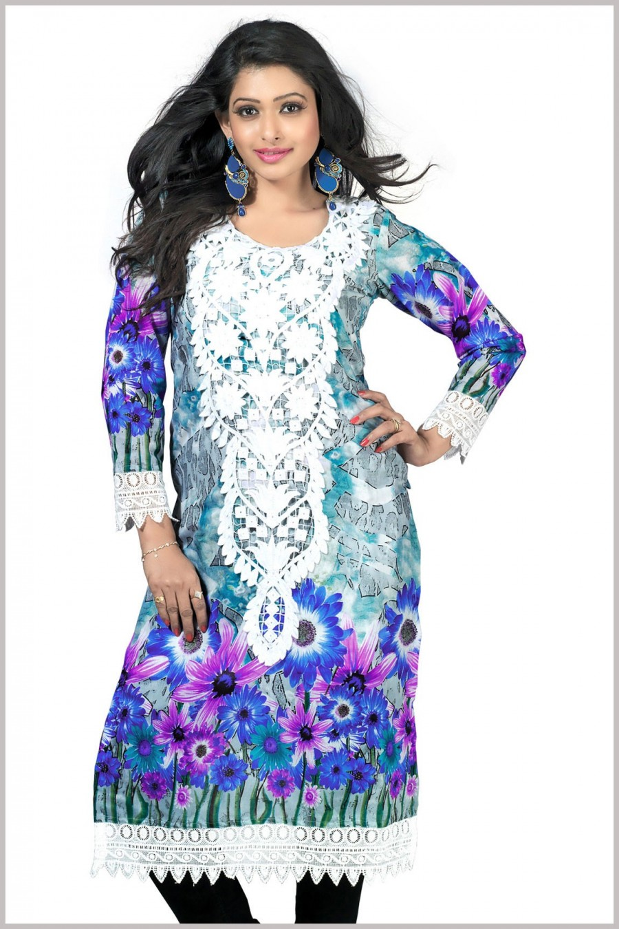 Buy Grey and Blue Cambric Cotton Printed Kurta Online