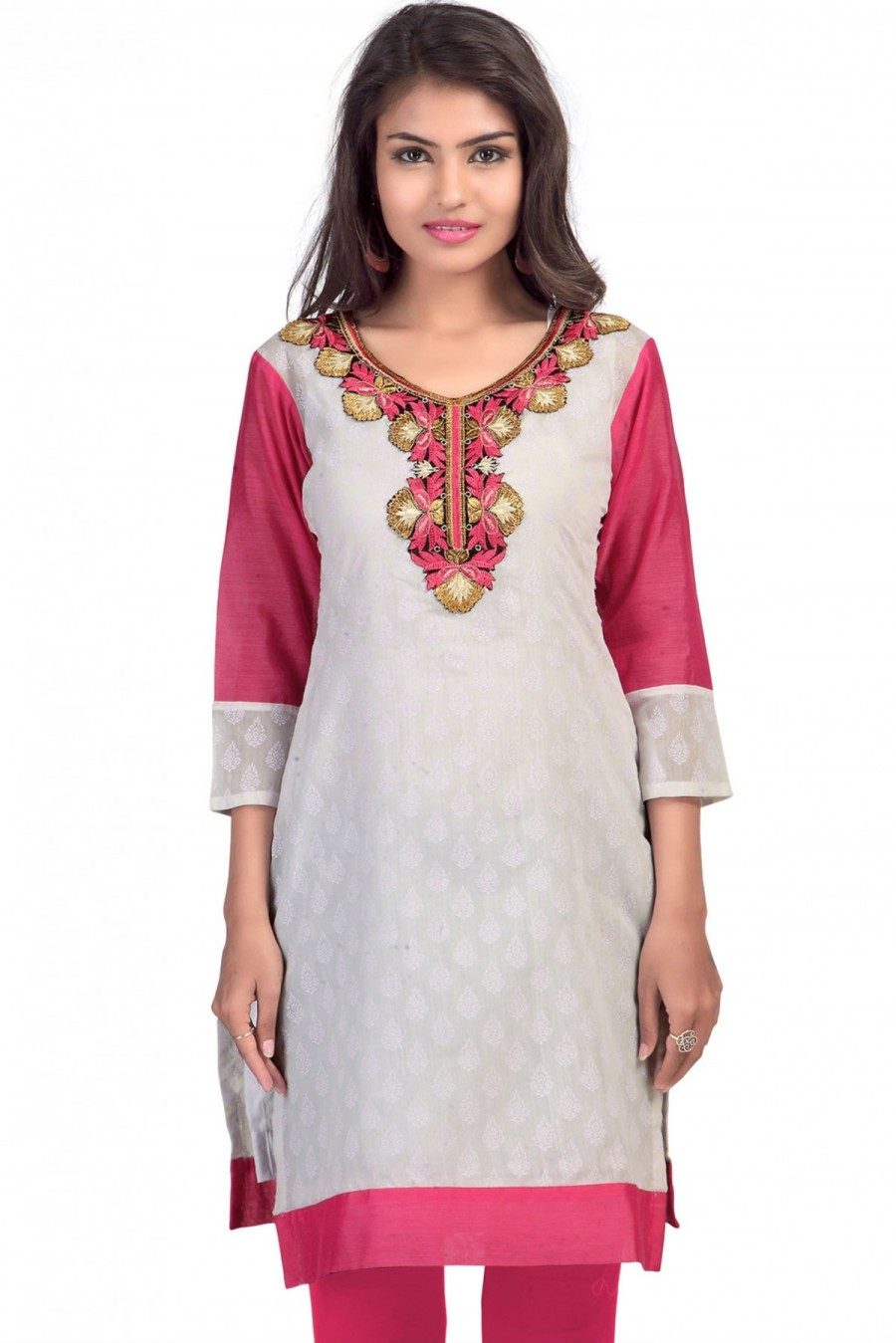 Buy Grey and Magenta Embroidered Kurti Online